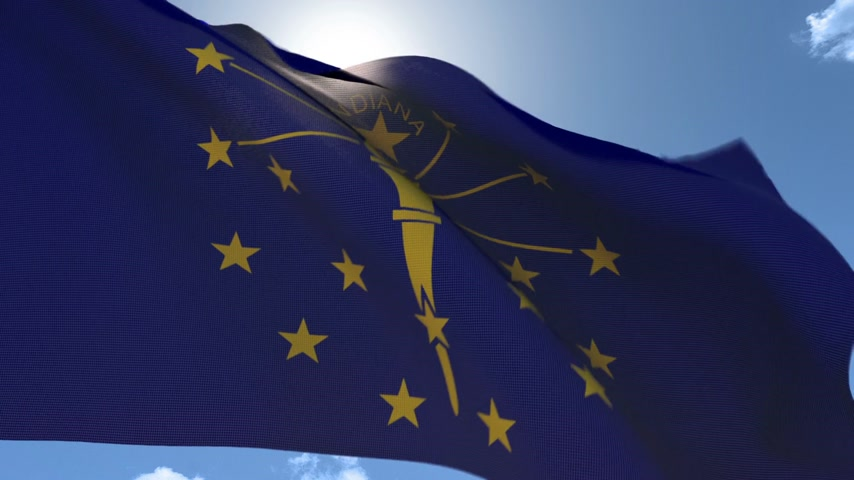 Flag of Indiana Waving in the Wind Wideo