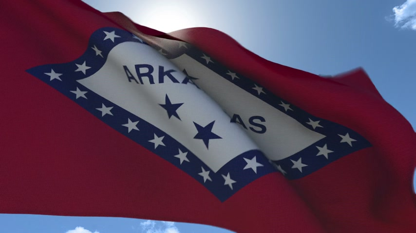 Flag of Arkansas Waving in the Wind