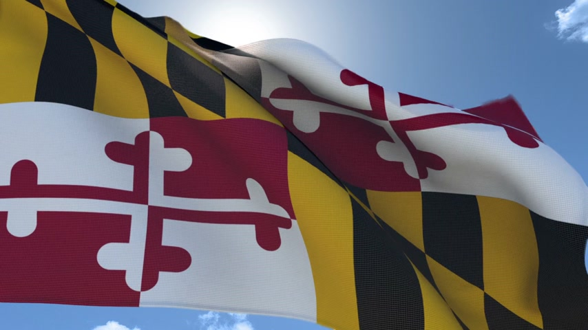 Flag of Maryland Waving in the Wind Wideo