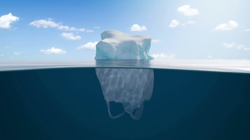 biodegradable : Half Glacier Half Plastic Bag
