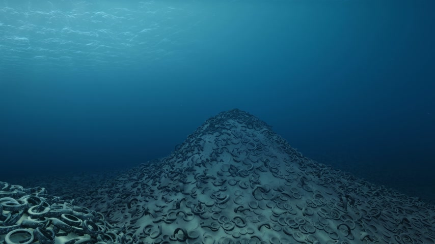 oceány : Oceans Pollution - Tires Cemetary Underwater