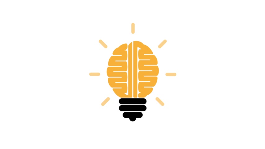educar : Creative left brain and right brain idea concept with light bulb symbol.Business,education or innovation concept.Motion graphic,graphic animation.4K,29.97 fps Stock Footage
