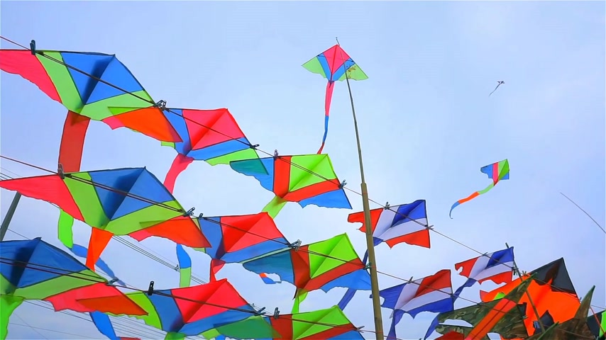 Kite shop in Thailand Stock Footage