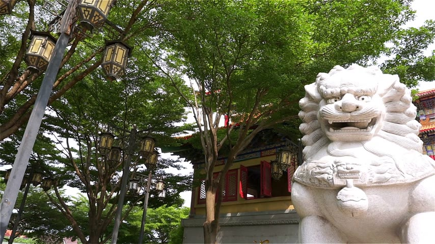 Chinese lion at the chinese temple in Thailand. (Panning shot) Stock Footage