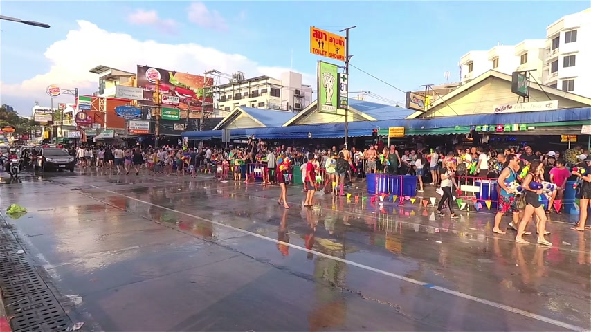 Pattaya, Thailand - April 2017: People enjoy Songkran festival at Pattaya beach Stock Footage