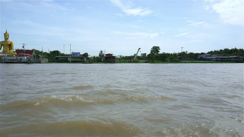 Golden buddha at Chao Phraya waterfront in Thailand