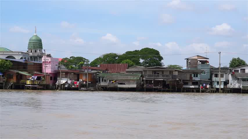 Islam church at Chao Phraya waterfront in Thailand Stock Footage