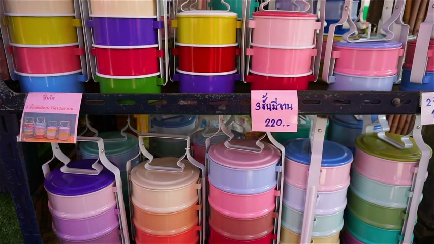 Colorful food carrier box at shop in Thailand