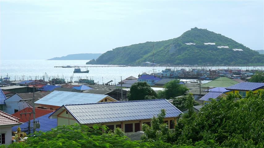 Fishing village & Boat at Chonburi, Thailand