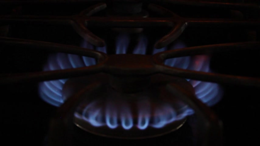 fry : Stove Top Continuous Burning Flame Stock Footage