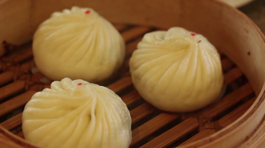 dimsum : steamed chinese dimsum bun : montage HD  Stock Footage