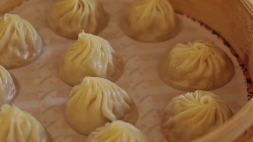 dimsum : steamed chinese dimsum dumpling, montage of stabilized and panning HD  Stock Footage