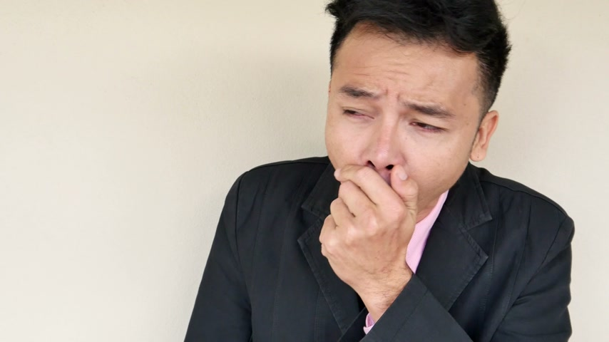 asthma : sick businessman coughing