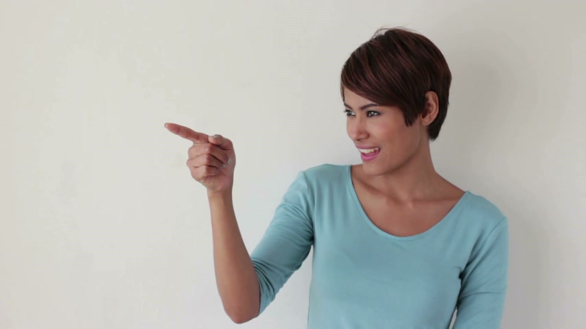 blank : woman pointing up