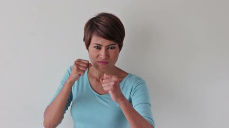 are you ready : strong and tough woman prepare to fight Stock Footage
