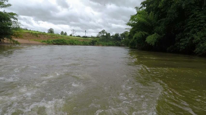 sluice : Aerial of River in Khwae Yai River, Summer forest landscape. Stock Footage