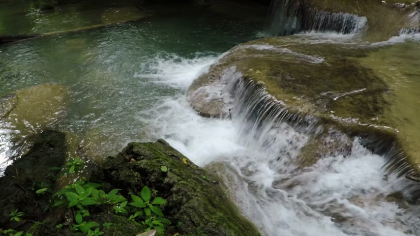 cataracts : Nature of beautiful waterfall and emerald pool in Thailand. (Erawan waterfall)