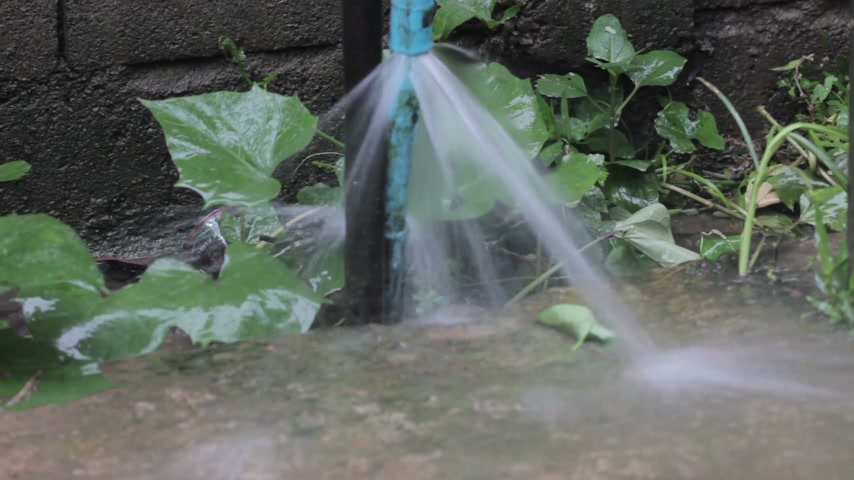утечка : close-up leaking water from blue pipe