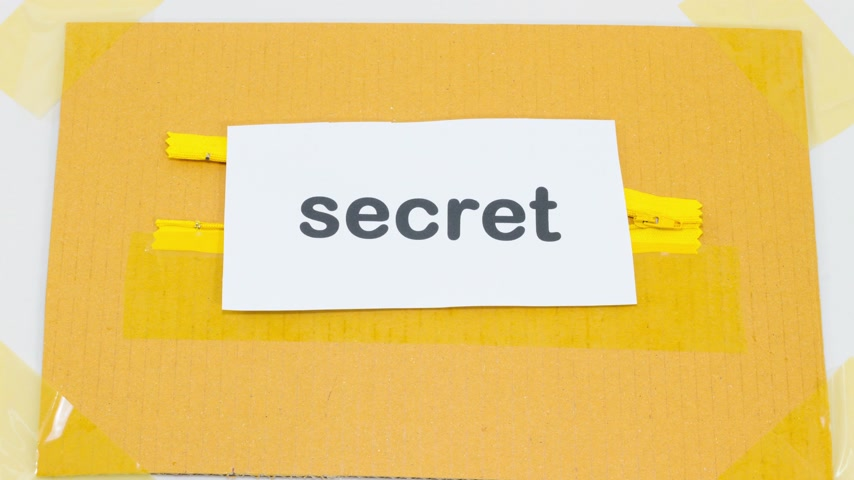 restraining : 4K stop motion hiding the paper with word top secret into yellow zipper, business concept