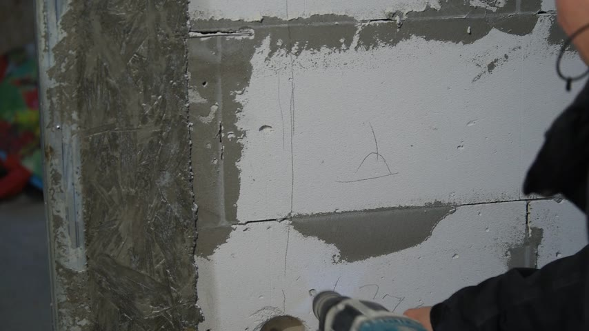 fasteners : Drilling holes in the foam concrete