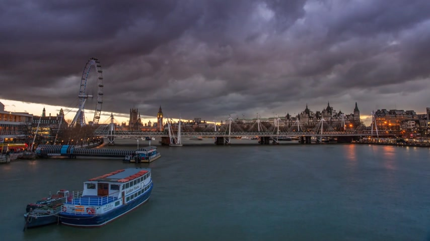 destinace : Time Lapse with London Eye and river Thames