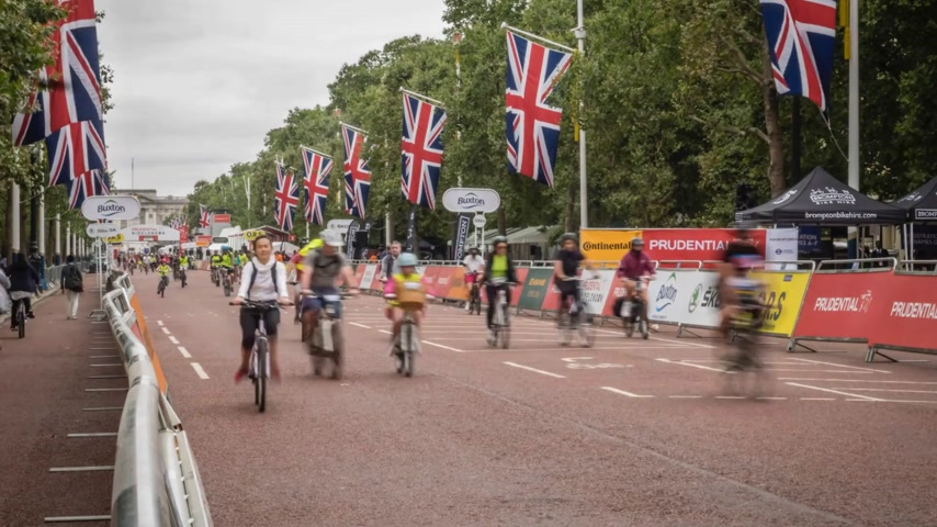 all ages : London, UK - July 2016. Action during the Prudential Ride London Freecycle event in London UK that took place over the weekend on 30 and 31 July 2016 Stock Footage