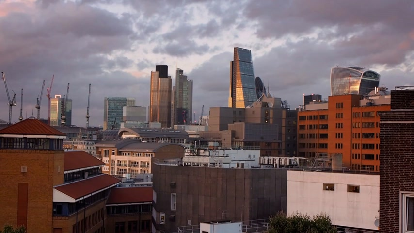 Slowly moving clouds over the City of London, England, UK