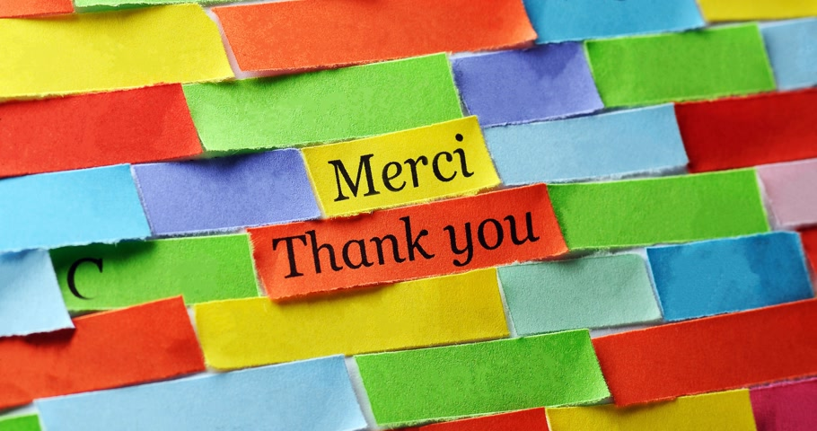 dziekuje : Thank You Word Cloud printed on colorful  paper different languages ,4k video Wideo