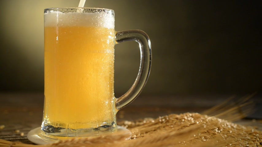 beer tap : pint of beer with barley