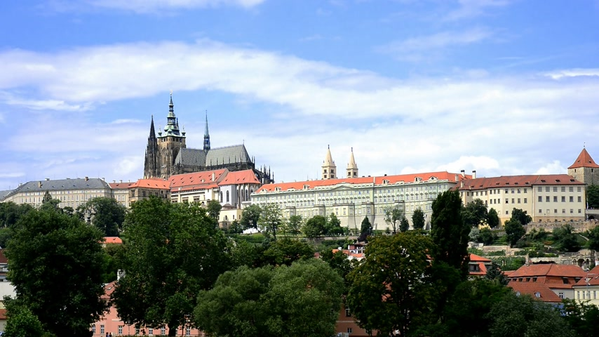 Прага : prague castle, time lapse Стоковые видеозаписи