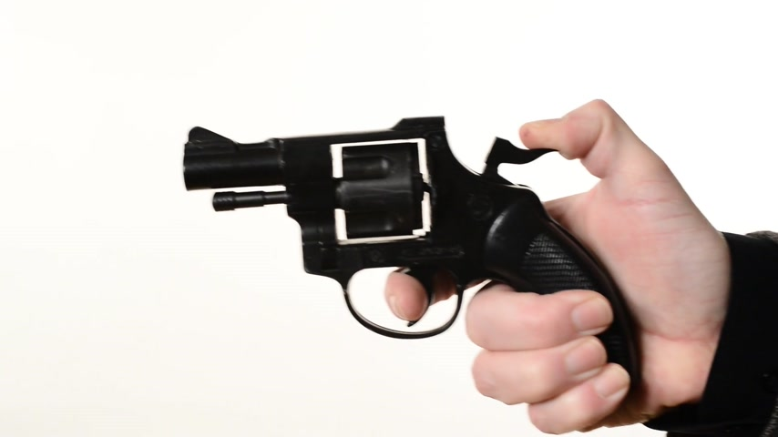 eim : man shooting a handgun,real time,isolated,studio lighting