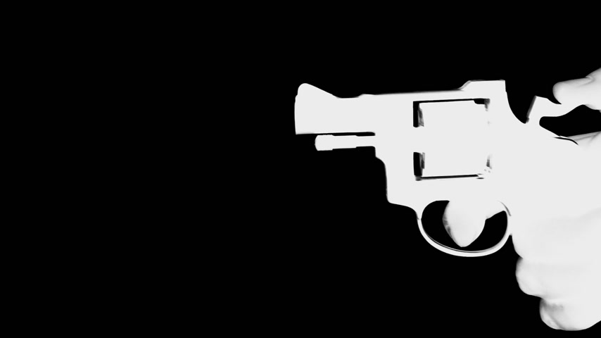 eim : man shooting a handgun,real time,isolated,studio lighting, black and white Stock Footage