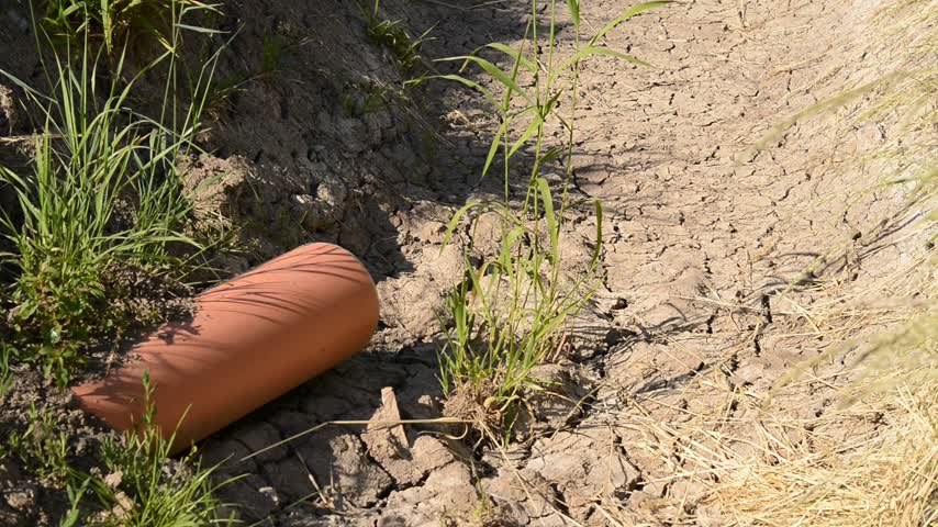 culvert : parched drainage channel with drain pipe weather is in dryzoom Stock Footage