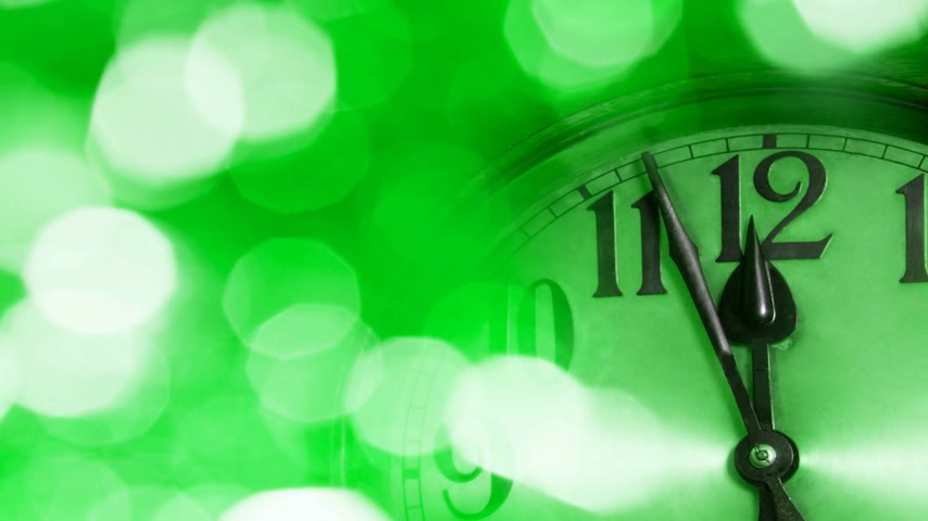 полночь : New Year Clock changes in colors throughout the spectrum, seamless loop