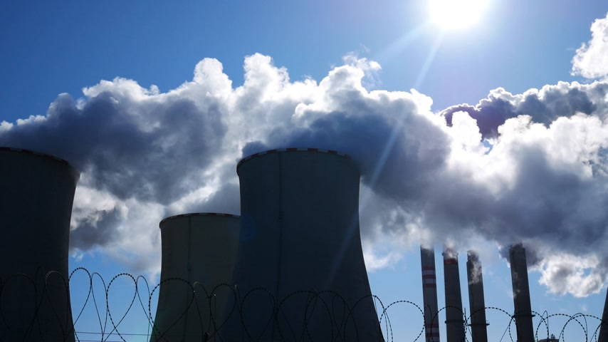 Power Plant Pocerady in Czech Republic in Sunny Day