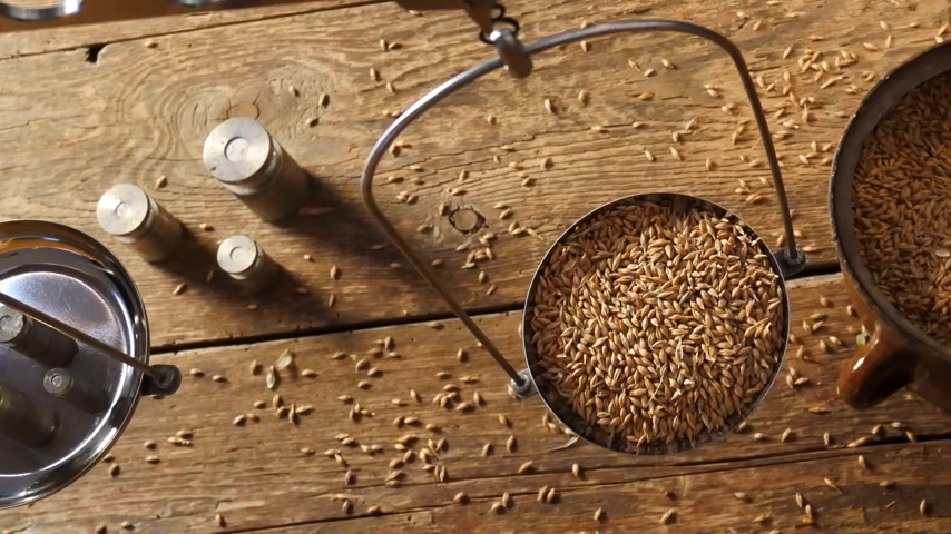Home Brewing of Beer. Man Weighs Barley. View Above. Stok Video