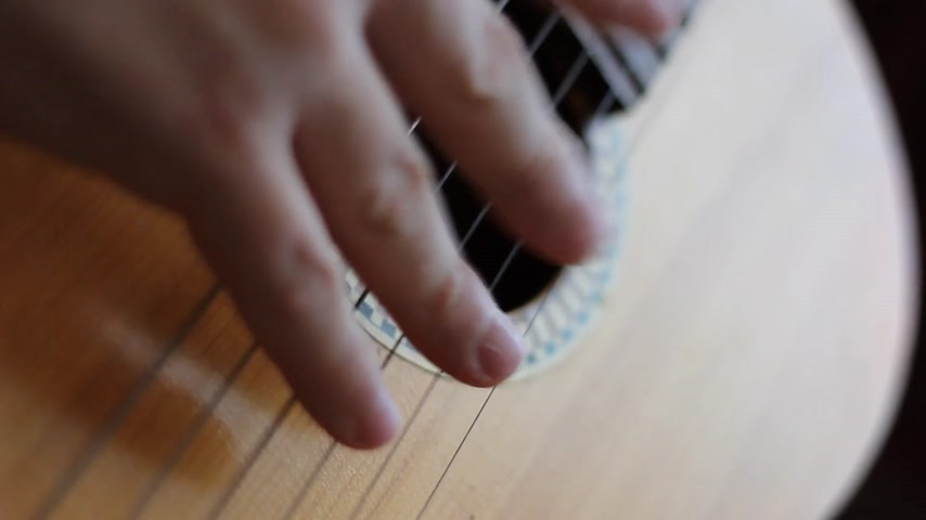 akustik : The musician playing  on classical Spanish guitar.   Stok Video
