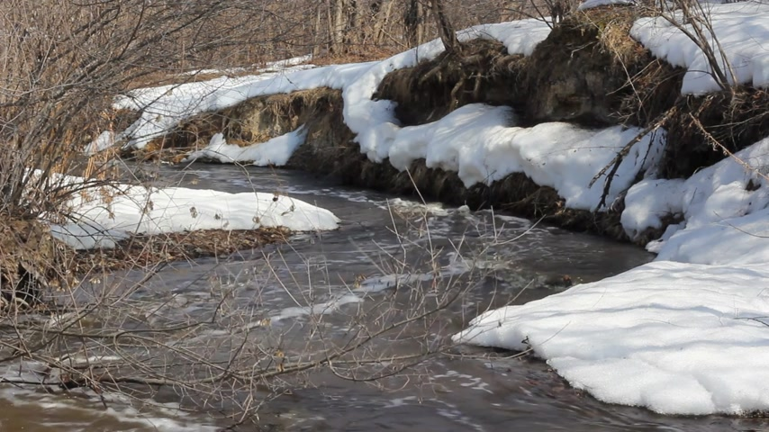 rozpouštění : Spring snow melting on the river, in March Dostupné videozáznamy