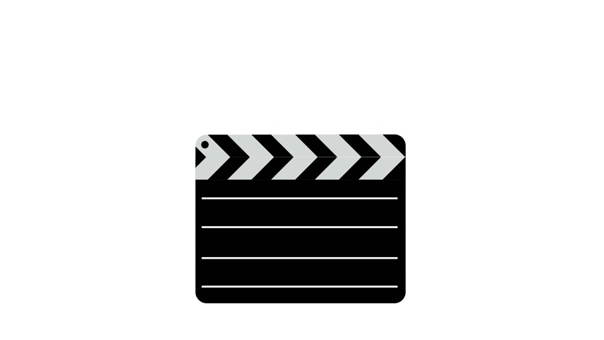 film slate : Movie clapper board  Illustration. White screen background. 4k animation. Stock Footage