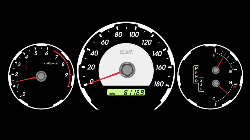 gösterge paneli : Speedometer sports car, start acceleration and braking. black screen background. 4k animation.