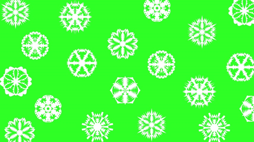 congelado : Christmas different sort of snowflakes, effect snowfall on a green screen background.  Vídeos