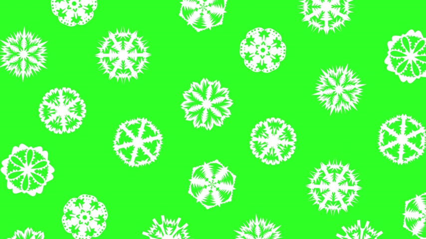 sniezynka : Christmas different sort of snowflakes, effect snowfall on a green screen background.