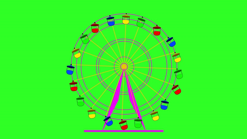pneu : Colorful ferris wheel at a breakneck cabins on a green screen  background.  Stock Footage