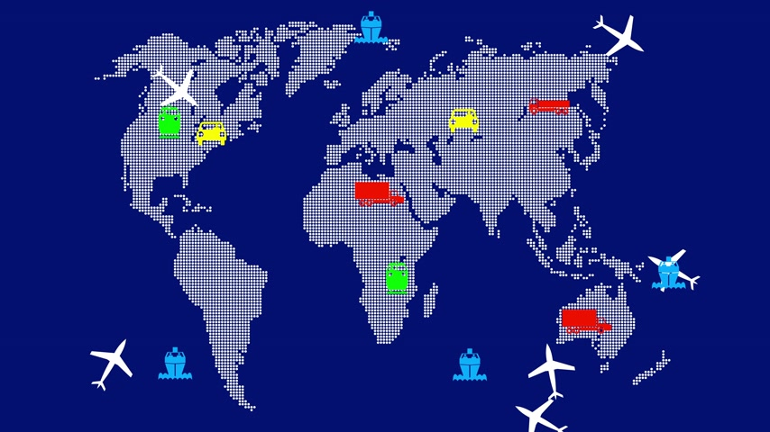samolot : World global transport. Blue screen background.  Wideo