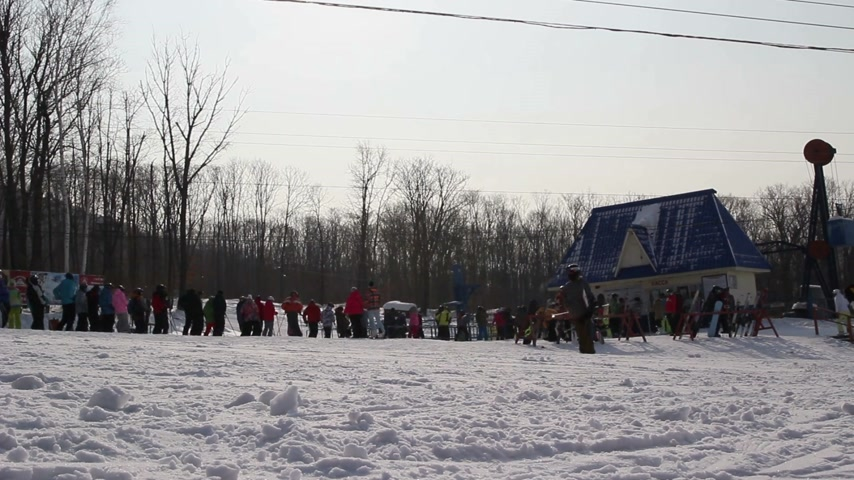 rusya : People wait near  lift  of queue in zone of skiing