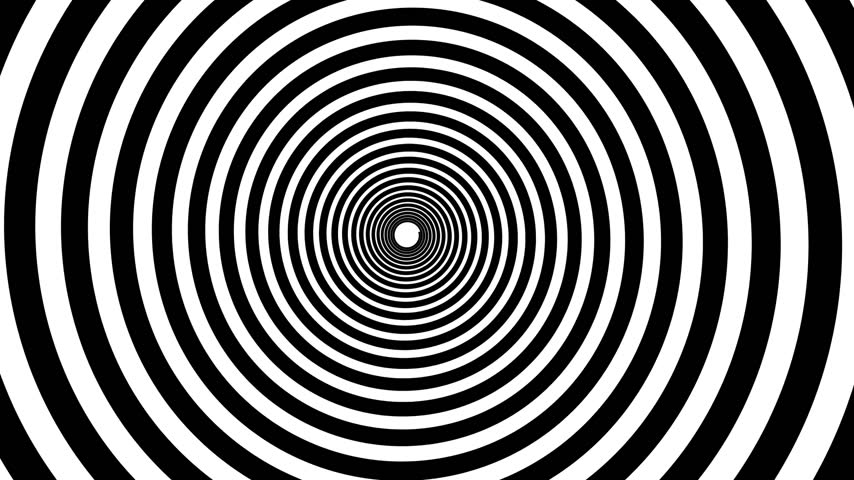 hipnoza : Spiral hypnotic animation. Black and white looping. animation. Wideo
