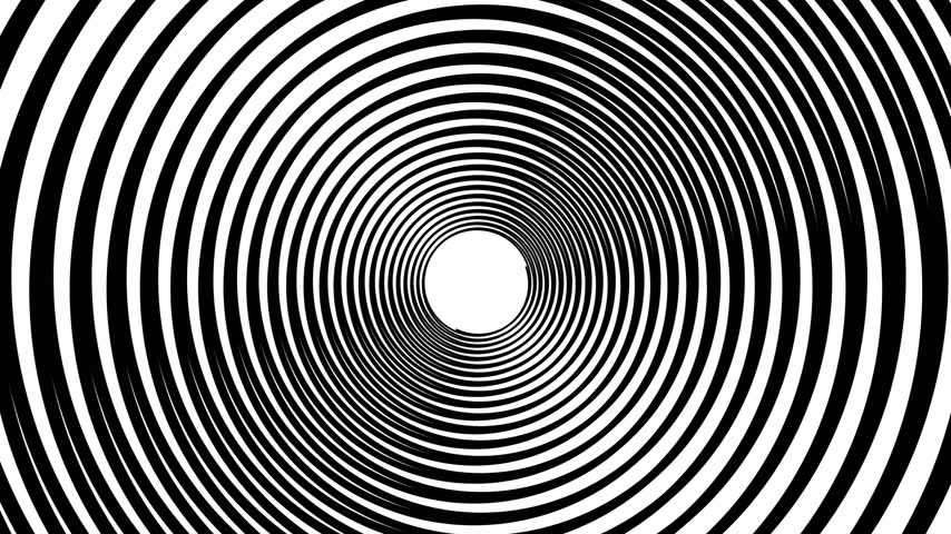 yanılsama : Spiral hypnotic animation. Black and white looping. animation. Stok Video