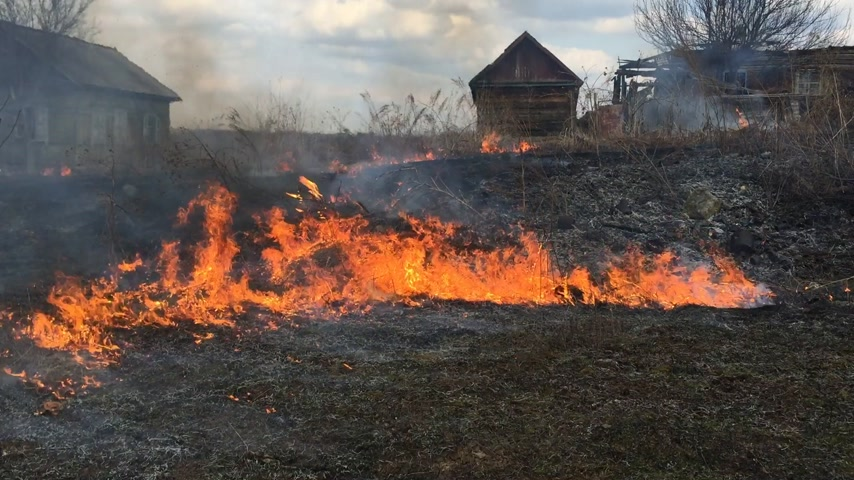 dom : Fire rages in long grass, foreground against the background of wooden houses. Wideo