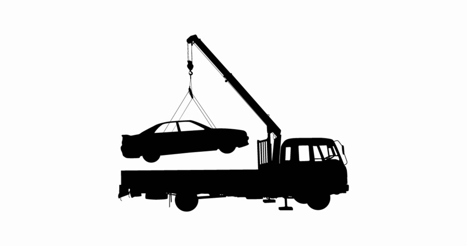truck crane : Black Silhouette, loading car into truck, animation.