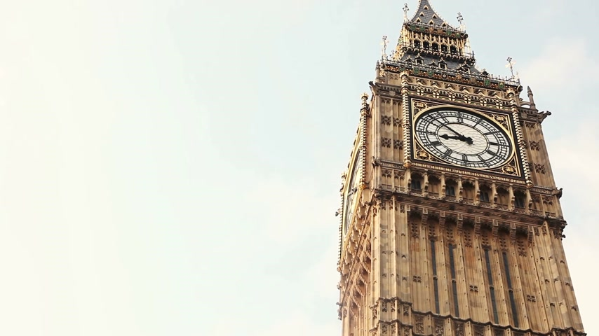 wielka brytania : Close up of Big Ben clock. Time-lapse.